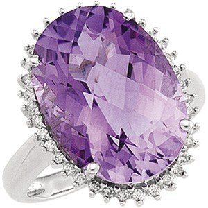 14K WHITE GOLD RING AMETHYST 8 CARATS!  38 DIAMOND