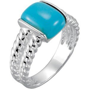 STERLING SILVER RING CHINESE TURQUOISE = 3 CARATS!