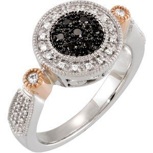 14K WHITE GOLD RING BLACK DIAMOND w WHITE DIAMOND
