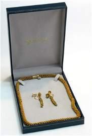 18K GOLD NECKLACE & EARRINGS SCHWARZCHILD 50 GRAMS!