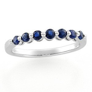 14K WHITE GOLD WEDDING BAND 7 GENUINE SAPPHIRES