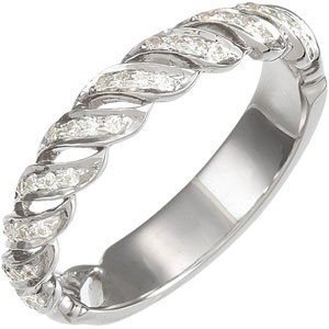 14K WHITE GOLD WEDDING BAND 36 DIAMOND FINE G/H