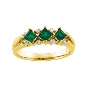 14K GOLD WEDDING BAND GENUINE EMERALD w DIAMOND