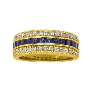 14K GOLD WEDDING BAND BLUE SAPPHIRE AND DIAMOND