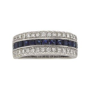 WHITE GOLD WEDDING BAND BLUE SAPPHIRE AND DIAMOND