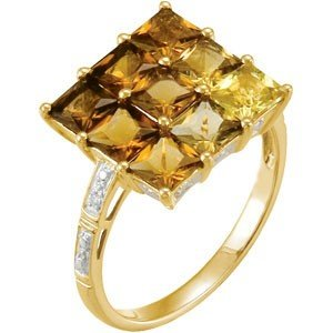 14K GOLD RING MULTI-COLOR QUARTZ 8 DIAMOND