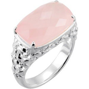 STERLING SILVER RING GENUINE PINK ROSE QUARTZ= 12 CARAT