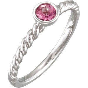 STERLING SILVER RING GENUINE PINK TOURMALINE