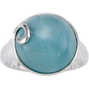 STERLING SILVER RING GENUINE BLUE LARIMAR 14MM ACROSS