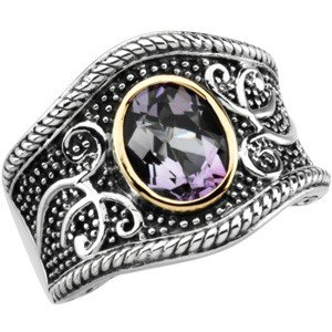 STERLING SILVER RING AMETHYST 14K GOLD