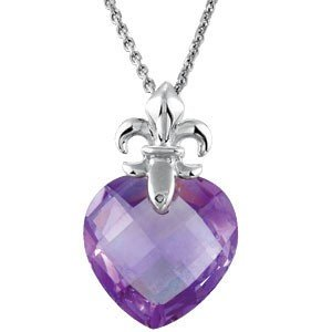 STERLING  NECKLACE HEART AMETHYST  FLEUR DE LIS CHAIN