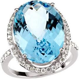 WHITE GOLD RING BLUE TOPAZ 15 CTS! 49 DIAMOND