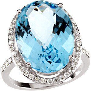 WHITE GOLD RING BLUE TOPAZ 15 CTS! 49 DIAMOND