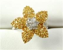 18K WHITE GOLD RING DIAMOND YELLOW SAPPHIRE DAISY