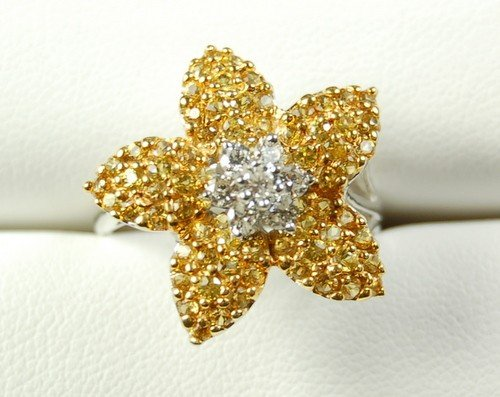 18K WHITE GOLD RING DIAMOND YELLOW SAPPHIRE DAISY
