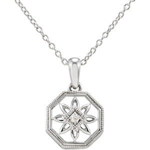 STERLING SILVER NECKLACE FLOWER DIAMOND PENDANT CHAIN