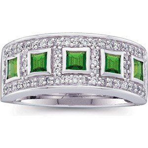 WHITE GOLD WEDDING BAND EMERALD DIAMOND RING