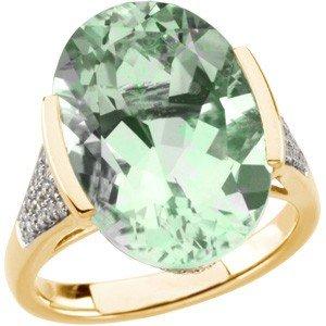 14K GOLD RING GREEN QUARTZ 12 CARATS! 54 DIAMOND