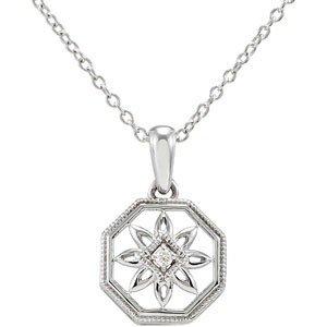 STERLING SILVER NECKLACE DIAMOND PENDANT CHAIN