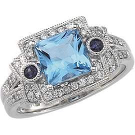 WHITE GOLD RING SWISS BLUE TOPAZ 46 DIAMOND