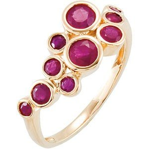 14K GOLD RING 10 GENUINE RUBY = .90 CARATS! UNUSUAL