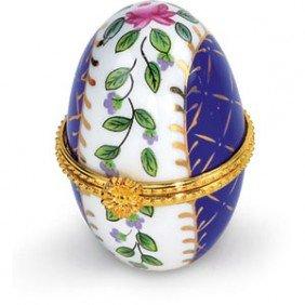 JEWELRY BOX EGG PORCELAIN ENAMEL BLUE GREEN PINK GOLD