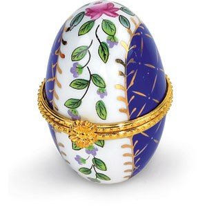 JEWELRY BOX EGG PORCELAIN ENAMEL BLUE GREEN PINK GOLD