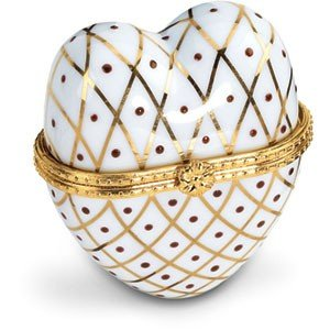 JEWELRY BOX  HEART PORCELAIN WHITE GOLD ENAMEL