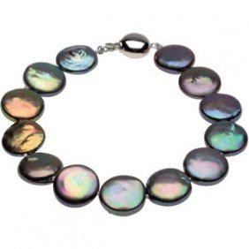 FRESHWATER BLACK CULTURED COIN PEARL NECKLACE 18 INCH