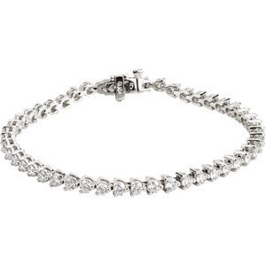 14K WHITE GOLD TENNIS BRACELET DIAMOND 5 CARATS!