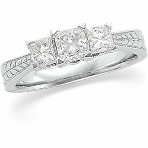 WHITE GOLD WEDDIING BAND 3 PRINCESS DIAMOND 1 CARAT!