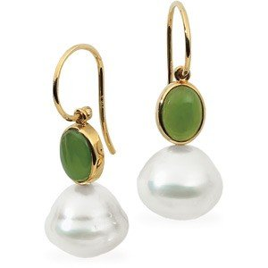 14K GOLD EARRINGS 11MM SOUTH SEA PEARL GREEN JADE