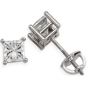 WHITE GOLD DIAMOND EARRINGS PRINCESS CUT = .50 CARATS!