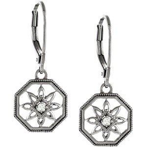STERLING SILVER EARRINGS DIAMOND IN FLOWER DESIGN