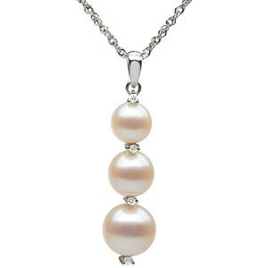 14K WHITE GOLD NECKLACE PEARL DIAMOND PENDANT