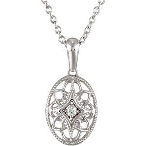 STERLING SILVER NECKLACE DIAMOND PENDANT CHAIN 18 INCH