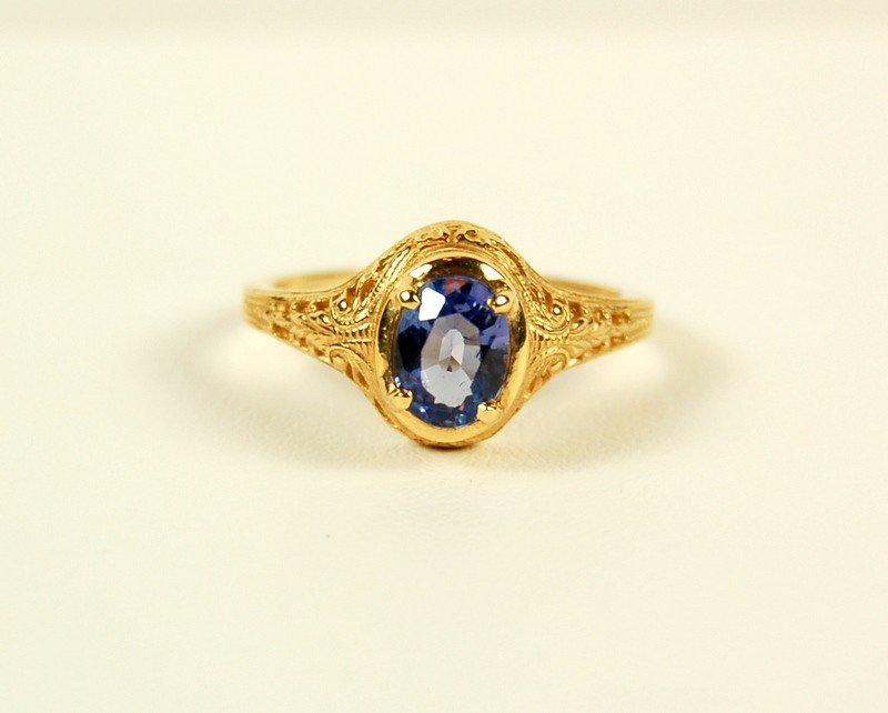ANTIQUE 14K GOLD RING FINE TANZANITE = 1.12 CARATS! OUT
