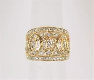 ESTATE 14K GOLD DIAMOND WEDDING BAND WIDE 1.25 CTS!
