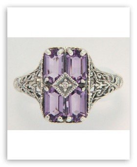 ANTIQUE STERLING SILVER RING AMETHYST DIAMOND