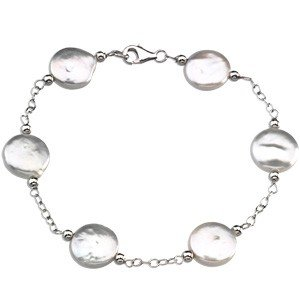 STERLING SILVER BRACELET WHITE  COIN PEARL