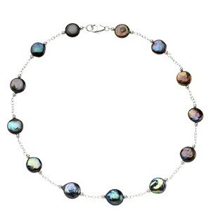 STERLING SILVER NECKLACE BLACK COIN PEARL STATIONS