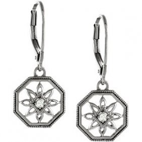 STERLING SILVER DIAMOND EARRINGS FLOWER DANGLE