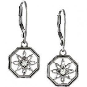STERLING SILVER DIAMOND EARRINGS FLOWER DANGLE