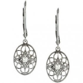 STERLING SILVER DIAMOND EARRINGS DANGLE