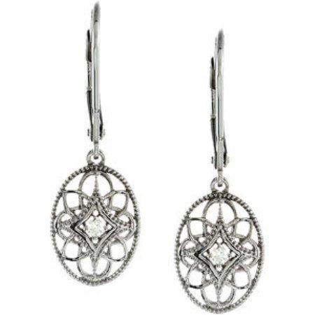 STERLING SILVER DIAMOND EARRINGS DANGLE