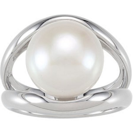 STERLING SILVER RING CULTURED PEARL 12.5MM LARGE!