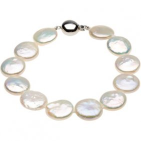 WHITE COIN PEARL BRACELET STERLING SILVER CLASP