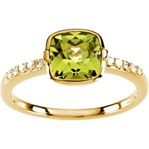 14K GOLD RING GENUINE PERIDOT 2 CARATS AND 10 DIAMOND (