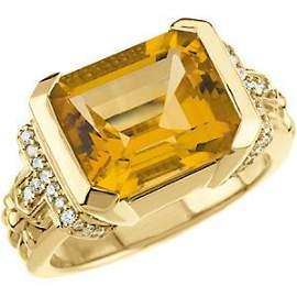 14K GOLD RING STUNNING CITRINE 5 CARATS AND 34 DIAMOND