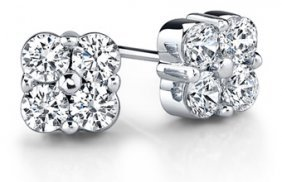 WHITE GOLD DIAMOND EARRINGS 2 CTS! RETAIL $12500!